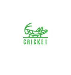 logo grasshopper cricket insect logo vector image