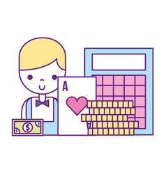 male croupier bingo card coins casino game vector image