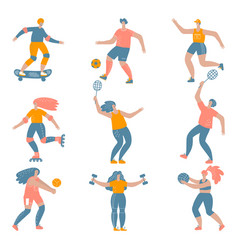 Mans and womans doing sports set vector