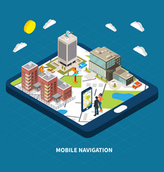 Mobile navigation isometric vector