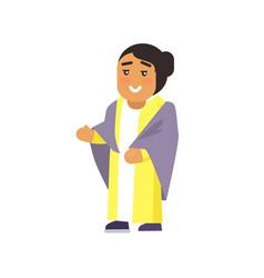 Muslim woman raising hand vector