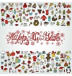 New year greeting cardColored Iconstitle vector image