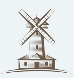 old wooden mill windmill logo or label farming vector image