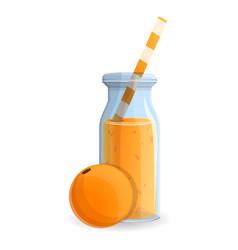 orange smoothie bottle icon cartoon style vector image