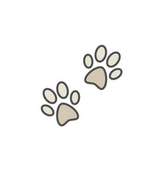 pair of paw prints colorful icon vector image