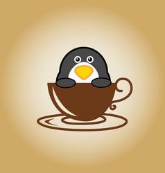 Penguin logo coffee vector