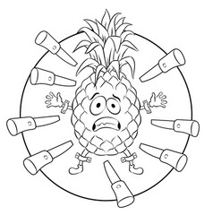pineapple target coloring book vector image