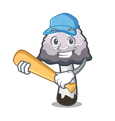 Playing baseball shaggy mane mushroom character vector