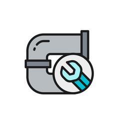 Plumbing pipe replacement repair drain pipe flat vector