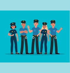 policemen group women and men cops in vector image
