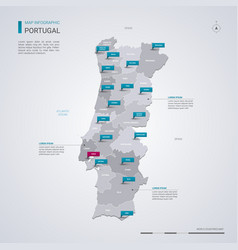 Portugal map with infographic elements pointer vector