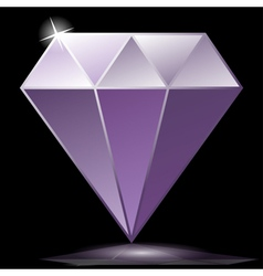Purple diamond as jewelry vector image