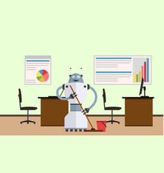 Robot cleaner in office interior vector