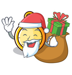 Santa with gift chronometer character cartoon vector