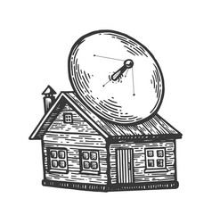 satellite dish on old house engraving vector image