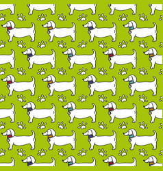 Seamless pattern dog profile paw trace isolated vector