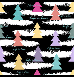 seamless pattern with abstract fir trees vector image