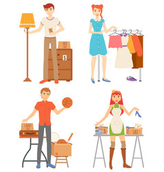 selling or buying goods garage sale shop vector image