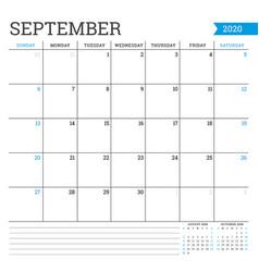 September 2020 square monthly calendar planner vector