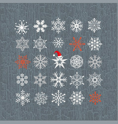 set colored snowflakes line icons vector image
