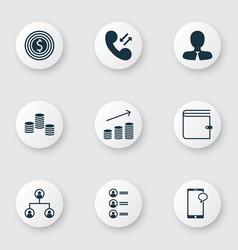 Set of 9 human resources icons includes coins vector