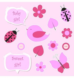 Set of pink scrapbook elements for baby girl vector image