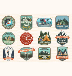 set of rock climbing club and summer camp badges vector image