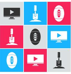 Set online play video shovel in ground vector