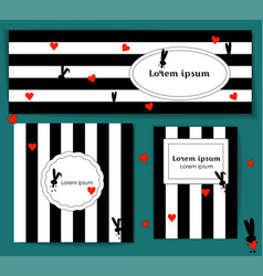 set template with silhouette rabbit and red hearts vector image
