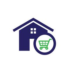 Shopping home icon vector