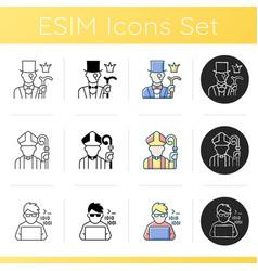 Social status types icons set vector