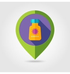 Sunscreen flat mapping pin icon with long shadow vector image