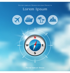 Travel brochure cover design with compass icon vector image
