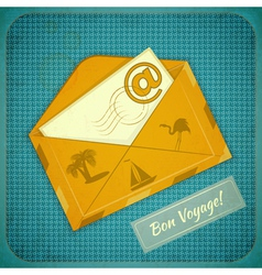 Travel Card with Yellow Envelope vector image