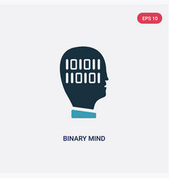 two color binary mind icon from technology vector image