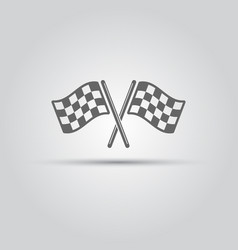 two crossed racing flags isolated icon vector image