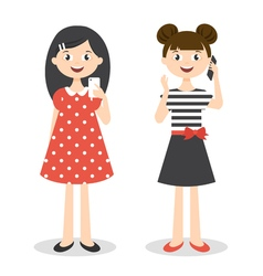 Two little cute girls with smartphones vector