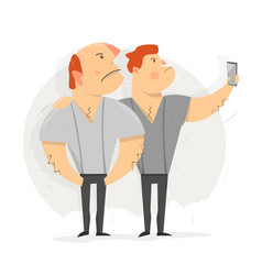 two man taking selfie photo vector image