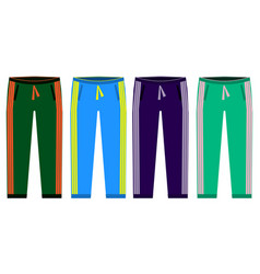 Types of sweatpants set simple icons of sprt vector