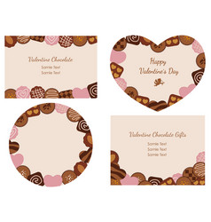 Valentines day card with various chocolates vector