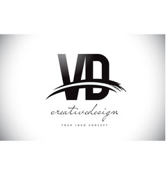 Vd v d letter logo design with swoosh and black vector
