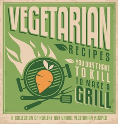 Vegetarian food vintage poster design vector