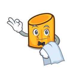 waiter rigatoni mascot cartoon style vector image