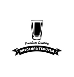 Whiskey shot glass alcohol badge and label vector
