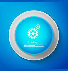 white loading and gear icon progress bar icon vector image