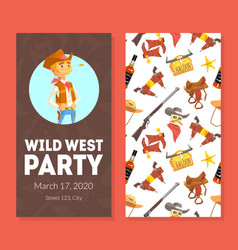 wild west party invitation card template vector image