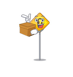 With box u turn sign shaped cartoon vector