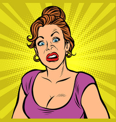 Woman with a funny surprised face vector