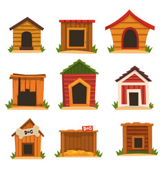 Wooden dog house set dogs kennel cartoon vector