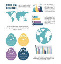 world map infographic chart statistics percent vector image